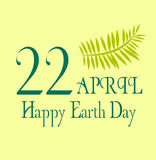 Earth day save the planet illustration april 22 with yellow background and leaves. Earth day happy earth day illustration april 22 Royalty Free Stock Image