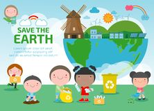 Earth Day, save the world, save planet, ecology concept, cute kid cartoon character isolated on white background vector illustrati royalty free illustration