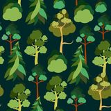 Earth Day. Seamless pattern with trees against the sky. Pine, spruce, linden, birch. Ecology. Vector illustration stock illustration