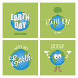 Earth day. Set of backgrounds with text and elements for earth day. Vector illustration Stock Image