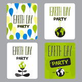 Earth day set of cards Stock Images