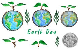 Earth day. Set of globe and tree sprout, watercolor illustration royalty free illustration