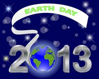 Earth Day. Silver 3-D 2013 with globe. Earth Day. Silver 3-D 2013 with globe and banner on a dark background Royalty Free Stock Photo