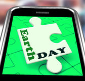 Earth Day Smartphone Means Eco Friendly And Green Stock Image