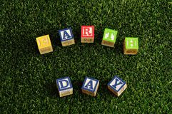 Earth day spelled with colorful alphabet blocks Royalty Free Stock Photo