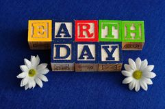 Earth day spelled with colorful alphabet blocks Royalty Free Stock Image