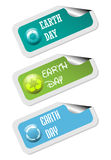 Earth Day stickers. Set of three Earth Day stickers with various symbols on them vector illustration