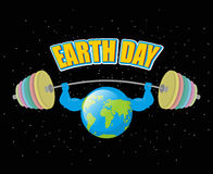Earth Day. Strong planet and sports barbell. Powerful Earth doin Royalty Free Stock Images