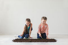 Earth day symbol seedlings with children Royalty Free Stock Image