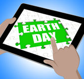 Earth Day Tablet Shows Conservation And Environmental Protection Stock Photos