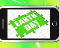 Earth Day Tablet Shows Environmentally Friendly Stock Photography