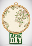 Earth Day Tag with Planet made with Vines and Leaves, Vector Illustration Stock Photo