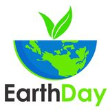 Earth day text and world vector flat graphic for background or banner Royalty Free Stock Photography