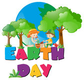 Earth day theme with kids planting in forest Stock Photography