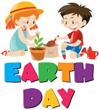 Earth day theme with kids planting tree Royalty Free Stock Photo