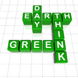 Earth Day think green. 3d green cubes with letters, crossword - Earth Day think green Royalty Free Stock Image