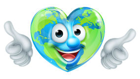 Earth Day Thumbs Up Heart Mascot Cartoon Character Royalty Free Stock Photography