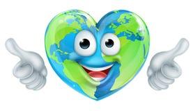 Earth Day Thumbs Up Mascot Heart Globe Cartoon Character Royalty Free Stock Photography