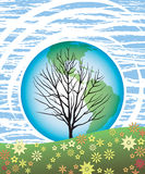 Earth Day Tree 1. A tree reaches to the sky, our earth behind and a field of flowers in front, in this retro-modern illustration, useful in a variety of Stock Photos