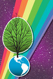 Earth Day Tree 2. A tree grows from the earth, rainbow and stars behind, in this retro-modern illustration, useful in a variety of applications for Earth Day and Stock Photos