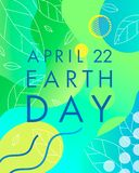 Earth Day typography design. Bright gradient background,liquid shapes,tiny leaves and geometric elements.Earth Day concept perfect for prints, flyers,banners vector illustration