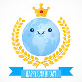 Earth Day vector background. Cartoon globe with golden crown and laurel wreath. Cute planet. Illustration for April 22. Earth Day vector background. Cartoon Stock Image