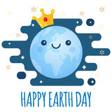 Earth Day vector background. Cartoon globe with golden crown and stars for April 22 celebration. Ecology theme. Earth Day vector background. Cartoon globe with Royalty Free Stock Photography