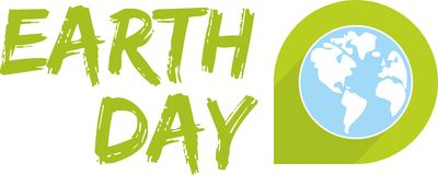 Earth day vector icon with green planet Stock Images