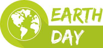 Earth day vector icon with green planet Stock Photography