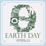Earth Day. Vector illustration with floral herbarium theta. royalty free illustration