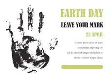 Earth day. Vector illustration. Human hand track. Earth day. Vector illustration Human hand Stock Photos