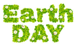 Earth Day vector sign made from green clover leaves and chamomile Royalty Free Stock Image
