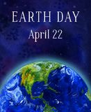 Earth day vertical banner. Earth planet in space. Hand drawn watercolor illustration vector illustration