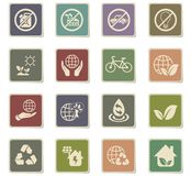 Earth day icon set. Earth day web icons for user interface design stock illustration