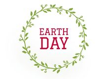 The earth day word celebration on the leaf circle vector illustration