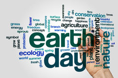 Earth day word cloud concept on grey background Stock Photos