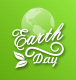 Earth Day, Words, Planets and Leaves Stock Photo