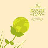 Earth Day World Globe Flower Green Silhouette Royalty Free Stock Photography