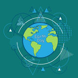 Earth Day World Globe Over Triangle Geometric Background Stock Images