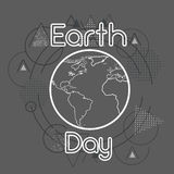 Earth Day World Globe Over Triangle Geometric Background Royalty Free Stock Image