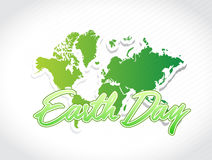 Earth day world map illustration. Design graphic Royalty Free Stock Photo