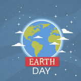 Earth Day World National April Holiday Globe Nigth View Emblem Ecological Protection Concept Stock Images