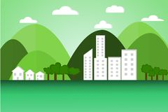 Earth day. World, nature, mountains, sky and construction  vector royalty free illustration