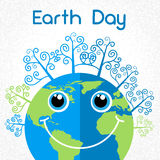Earth Day World Smiling Globe Cartoon Character. With Trees Vector Illustration Royalty Free Stock Images