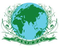 Earth day1. Earth globe illustration with floral design vector illustration