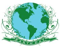 Earth day2. Earth globe illustration with floral design stock illustration