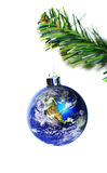 Earth decoration hanging on christmas tree Stock Images