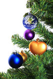 Earth decoration hanging on christmas tree Stock Photo