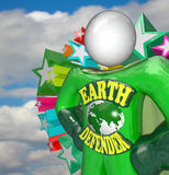 Earth Defender Super Hero Environmentalist Activist. A person in a green superhero costume stands ready to face challenges to the Earth in his role as Royalty Free Stock Photography