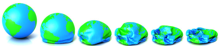 Earth deflating. Series of earth deflating isolated on white Stock Images
